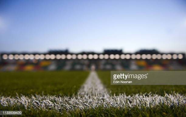 Dublin Ireland 29 March 2019 A detailed view of the grass surface in Tallaght Stadium ahead of the SSE Airtricity League Premier Division match...