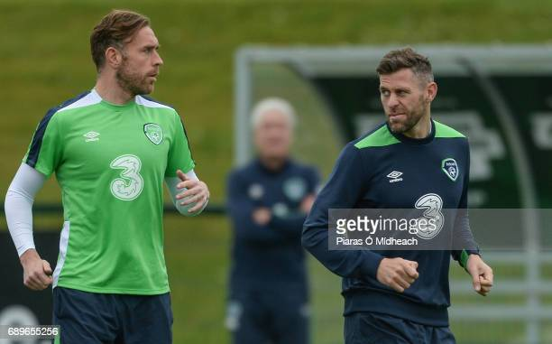 Dublin Ireland 29 May 2017 Richard Keogh left and Daryl Murphy of Republic of Ireland during squad training at the FAI National Training Centre in...