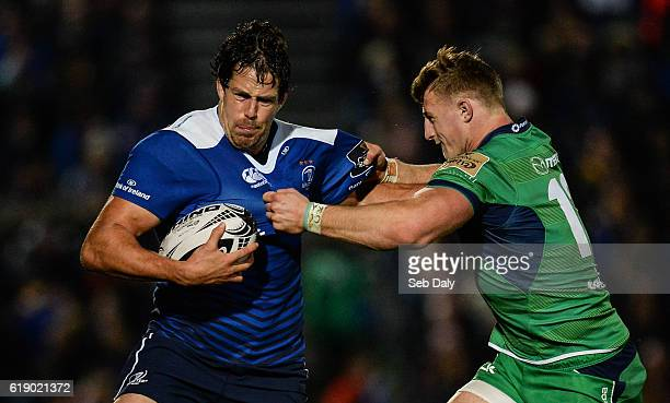 Dublin Ireland 29 October 2016 Mike McCarthy of Leinster is tackled by Peter Robb of Connacht during the Guinness PRO12 Round 7 match between...