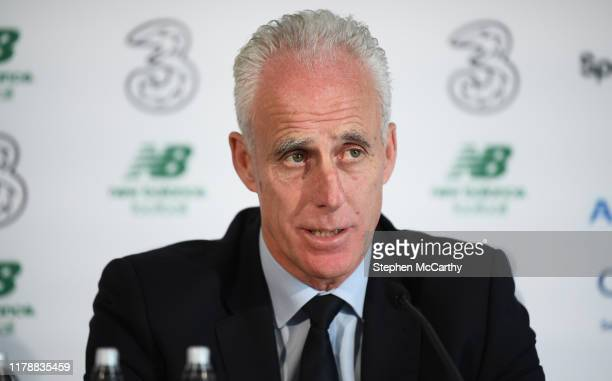 Dublin Ireland 29 October 2019 Republic of Ireland manager Mick McCarthy during his squad announcement at SSE Airtricity Headquarters in Leopardstown...