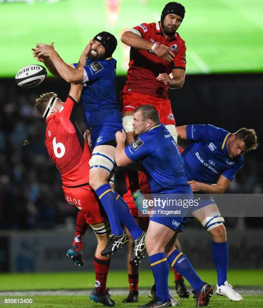 Dublin Ireland 29 September 2017 Scott Fardy of Leinster in action against Jamie Ritchie of Edinburgh during the Guinness PRO14 Round 5 match between...