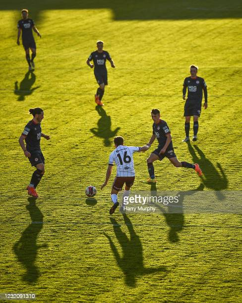 Dublin , Ireland - 3 April 2021; Ben McCormack of St Patrick's Athletic in action against Keith Buckley of Bohemians during the SSE Airtricity League...