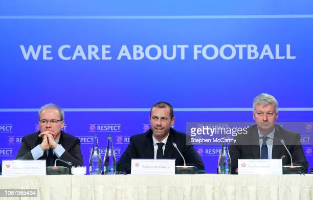 Dublin Ireland 3 December 2018 UEFA President Aleksander Ceferin with UEFA Deputy General Secretary Giorgio Marchetti left and UEFA Communication...