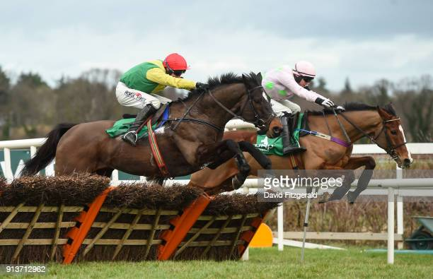 Dublin Ireland 3 February 2018 Supasundae with Robbie Power up left jump the last next to Faugheen with Paul Townend up on their way to winning the...