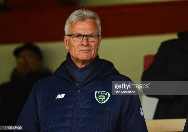 Dublin Ireland 3 May 2019 FAI High Performance Director Ruud Dokter in attendance at the 2019 UEFA European Under17 Championships Group A match...