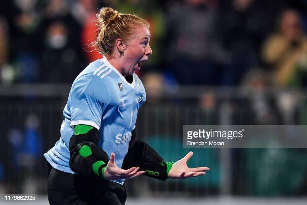 Dublin Ireland 3 November 2019 Ayeisha McFerran of Ireland celebrates winning the penalty strokes and qualifying for the Tokyo2020 Olympic Games...
