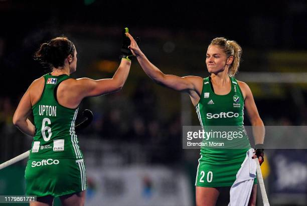 Dublin Ireland 3 November 2019 Chloe Watkins and Roisin Upton of Ireland celebrate during the penalty stroke sudden death shoot out during the FIH...