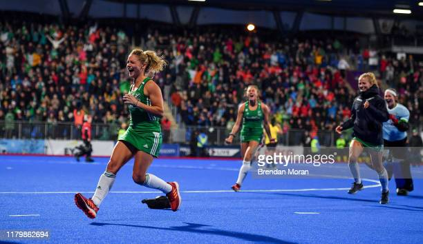 Dublin Ireland 3 November 2019 Chloe Watkins and teammates celebrate after qualifying for the Tokyo2020 Olympic Games after the FIH Women's Olympic...
