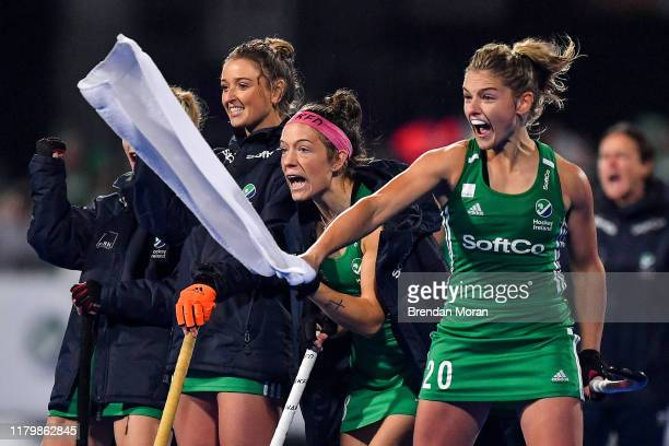 Dublin Ireland 3 November 2019 Chloe Watkins of Ireland and her teammates celebrate during penalty strokes during the FIH Women's Olympic Qualifier...