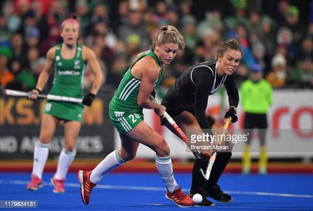 Dublin Ireland 3 November 2019 Chloe Watkins of Ireland in action against Brienne Stairs of Canada during the FIH Women's Olympic Qualifier match...