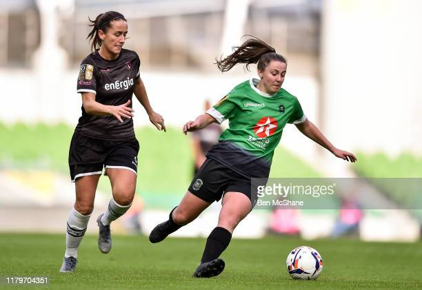 Dublin Ireland 3 November 2019 Eleanor Ryan Doyle of Peamount United in action against Kylie Murphy of Wexford Youths during the Só Hotels FAI...
