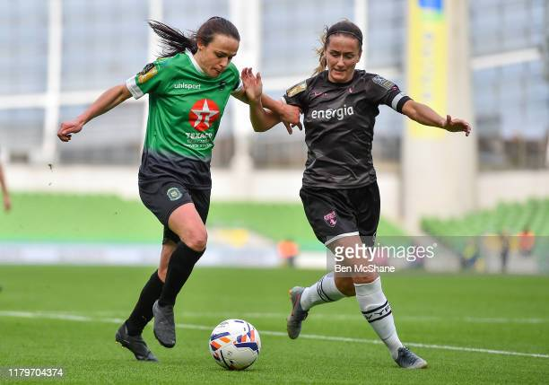 Dublin Ireland 3 November 2019 Áine O'Gorman of Peamount United in action against Kylie Murphy of Wexford Youths during the Só Hotels FAI Women's Cup...