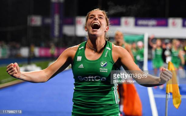 Dublin Ireland 3 November 2019 Ireland captain Katie Mullan celebrates winning the penalty strokes and qualifying for the Tokyo2020 Olympic Games...