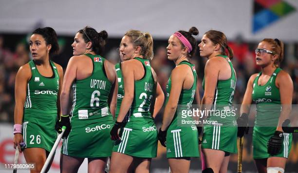Dublin Ireland 3 November 2019 Ireland players wait on a video referral during the second quarter of the FIH Women's Olympic Qualifier match between...