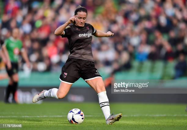Dublin Ireland 3 November 2019 Kylie Murphy of Wexford Youths shoots to score her side's third goal during the Só Hotels FAI Women's Cup Final...