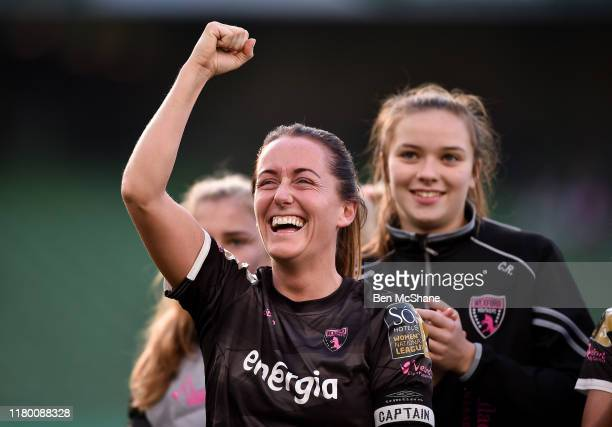 Dublin Ireland 3 November 2019 Kylie Murphy of Wexford Youths celebrates following the Só Hotels FAI Women's Cup Final between Wexford Youths and...