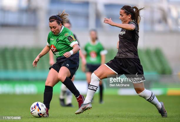 Dublin Ireland 3 November 2019 Megan Smyth Lynch of Peamount United in action against Kylie Murphy of Wexford Youths during the Só Hotels FAI Women's...