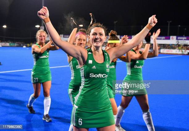 Dublin Ireland 3 November 2019 Roisin Upton of Ireland celebrates after qualifying for the Tokyo2020 Olympic Games after the FIH Women's Olympic...