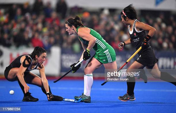 Dublin Ireland 3 November 2019 Roisin Upton of Ireland in action against Danielle Hennig left and Elise Wong of Canada during the FIH Women's Olympic...