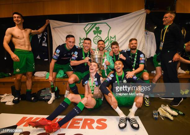 Dublin Ireland 3 November 2019 Shamrock Rovers players celebrate following the extraie FAI Cup Final between Dundalk and Shamrock Rovers at the Aviva...