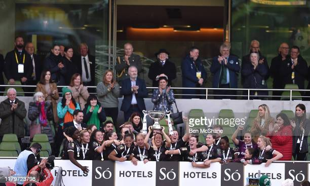 Dublin Ireland 3 November 2019 Wexford Youths captain Kylie Murphy lifts the cup following the Só Hotels FAI Women's Cup Final between Wexford Youths...