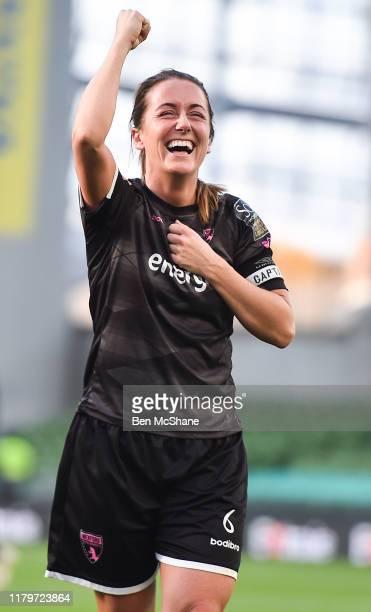Dublin Ireland 3 November 2019 Wexford Youths captain Kylie Murphy celebrates following the Só Hotels FAI Women's Cup Final between Wexford Youths...