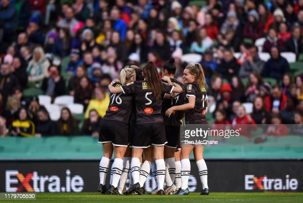 Dublin Ireland 3 November 2019 Wexford Youths players celebrate their side's third goal scored by Kylie Murphy during the Só Hotels FAI Women's Cup...