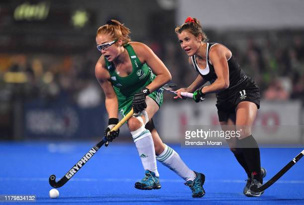 Dublin Ireland 3 November 2019 Zoe Wilson of Ireland in action against Rachel Donohoe of Canada during the FIH Women's Olympic Qualifier match...