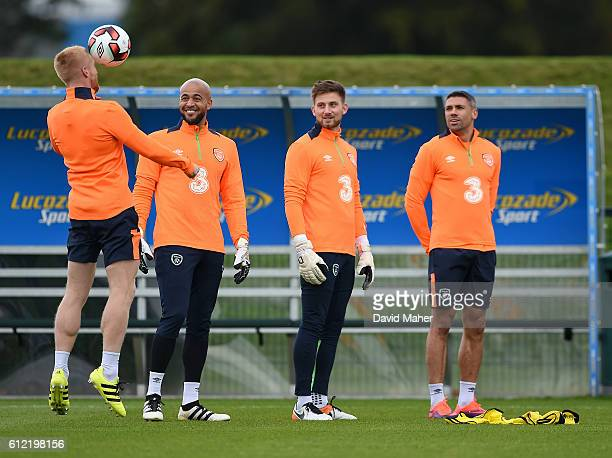 Dublin Ireland 3 October 2016 Republic of Ireland players from left Paul McShane Darren Randolph Danny Rodgers and Jonathan Walters during squad...