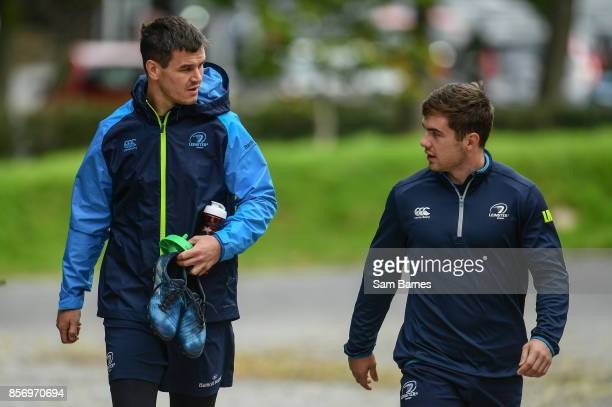 Dublin Ireland 3 October 2017 Jonathan Sexton and Luke McGrath of Leinster arrive ahead of Leinster Squad Training at Leinster Rugby Headquarters in...
