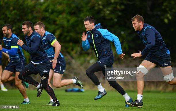 Dublin Ireland 3 October 2017 Leinster players from left Fergus McFadden Jonathan Sexton and Ross Molony during Leinster Squad Training at Leinster...