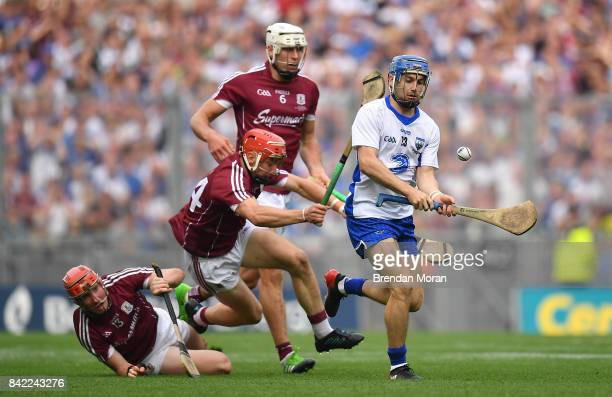 Dublin Ireland 3 September 2017 Colin Dunford of Waterford in action against Conor Whelan left and Conor Cooney of Galway during the GAA Hurling...