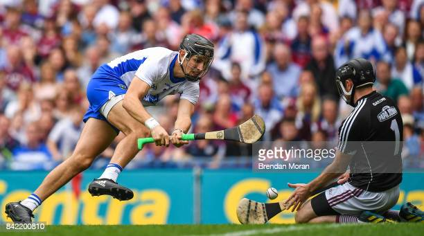 Dublin Ireland 3 September 2017 Colm Callanan of Galway in action against Maurice Shanahan of Waterford during the GAA Hurling AllIreland Senior...