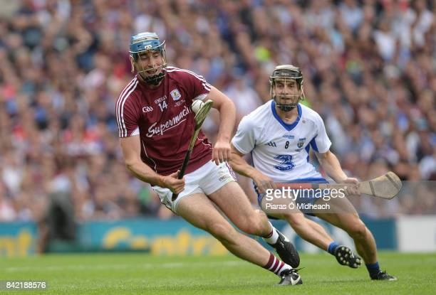 Dublin Ireland 3 September 2017 Conor Cooney of Galway in action against Jamie Barron of Waterford during the GAA Hurling AllIreland Senior...