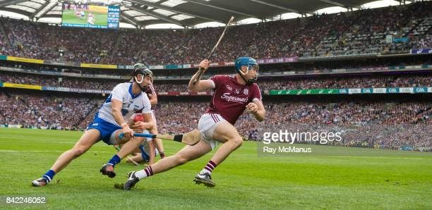 Dublin Ireland 3 September 2017 Conor Cooney of Galway in action against Darragh Fives of Waterford during the GAA Hurling AllIreland Senior...