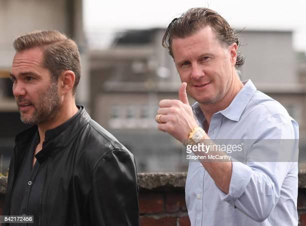 Dublin Ireland 3 September 2017 Former Soccer players Steve McManaman right and Jason McAteer prior to the GAA Hurling AllIreland Senior Championship...