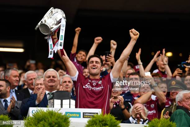 Dublin Ireland 3 September 2017 Galway captain David Burke lifts the Liam MacCarthy cup after the GAA Hurling AllIreland Senior Championship Final...