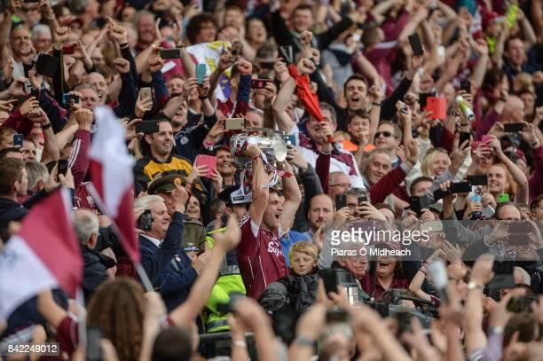 Dublin Ireland 3 September 2017 Galway captain David Burke lifts the Liam MacCarthy cup after the GAA Hurling AllIreland Senior Championship Final...