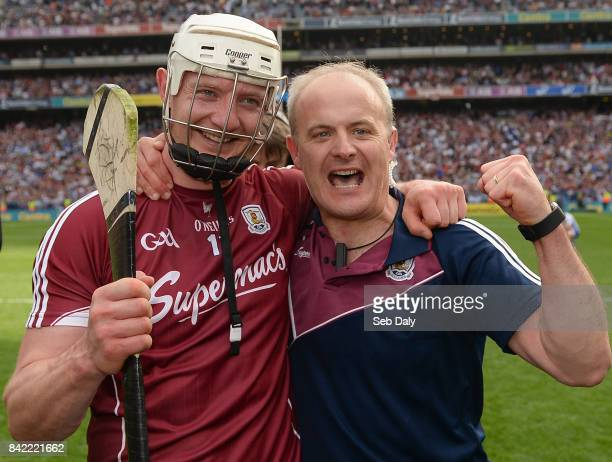 Dublin Ireland 3 September 2017 Galway manager Micheál Donoghue right with Joe Canning of Galway after the GAA Hurling AllIreland Senior Championship...