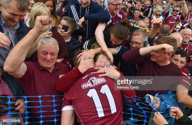 Dublin Ireland 3 September 2017 Galway's Joe Canning celebrates with his parents Sean and Josephine following the GAA Hurling AllIreland Senior...