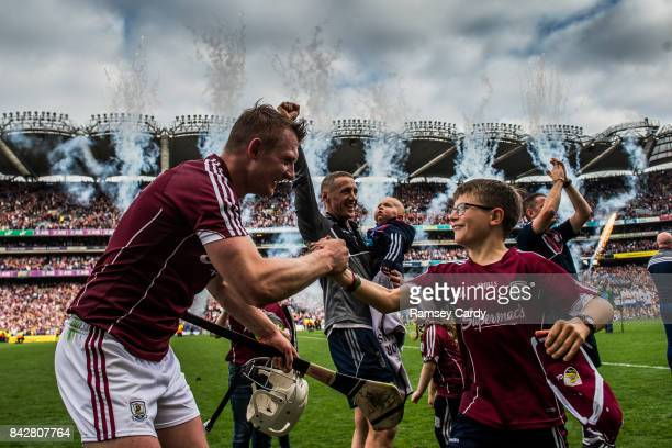 Dublin Ireland 3 September 2017 Galway's Joe Canning celebrates with Niall Donoghue son of manager Micheál following the GAA Hurling AllIreland...