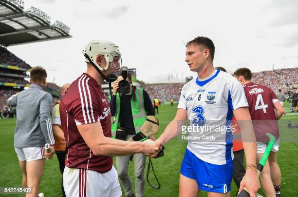Dublin Ireland 3 September 2017 Galway's Joe Canning shakes hands with Austin Gleeson of Waterford following the GAA Hurling AllIreland Senior...