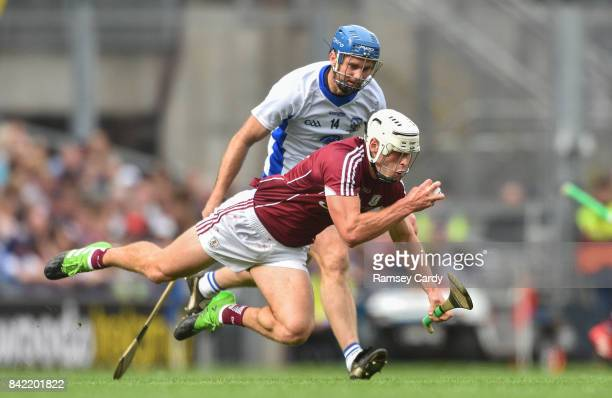 Dublin Ireland 3 September 2017 Gearóid McInerney of Galway is tackled by Michael Walsh of Waterford during the GAA Hurling AllIreland Senior...