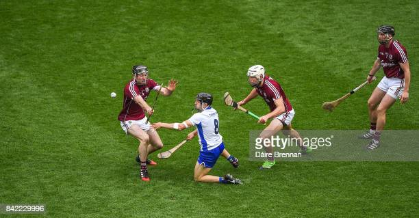 Dublin Ireland 3 September 2017 Jamie Barron of Waterford in action against Galway players left to right Pádraic Mannion Gearoid McInerney and Aidan...