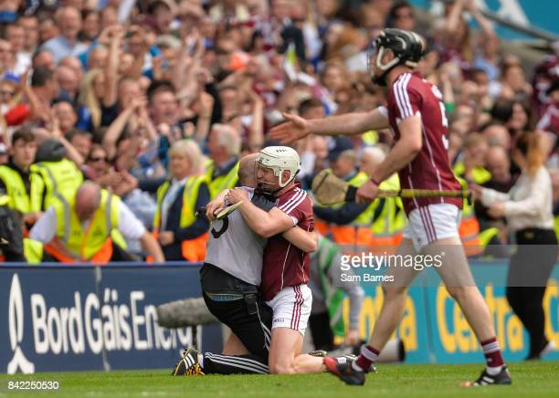 Dublin Ireland 3 September 2017 Joe Canning of Galway centre celebrates with a memeber of Galway backroom staff after the GAA Hurling AllIreland...
