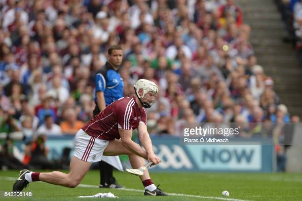 Dublin Ireland 3 September 2017 Joe Canning of Galway scores a point from the sideline during the GAA Hurling AllIreland Senior Championship Final...