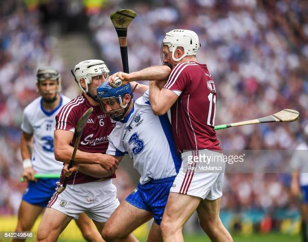Dublin Ireland 3 September 2017 Michael Walsh of Waterford in action against Joe Canning and Gearóid McInerney of Galway during the GAA Hurling...