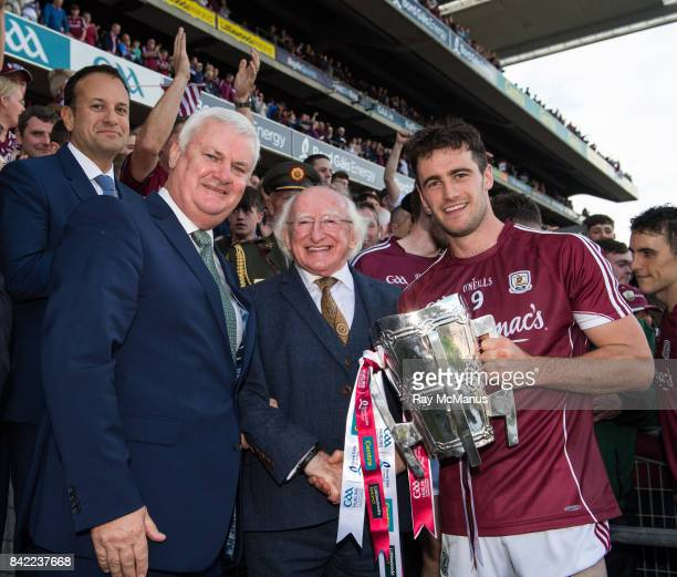 Dublin Ireland 3 September 2017 President of Ireland Michael D Higgins with Taoiseach Leo Varadkar and GAA President Aogán Ó Fearghaíl and the Galway...