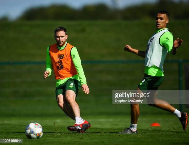 Dublin Ireland 3 September 2018 Alan Judge left and Graham Burke during Republic of Ireland squad training at the FAI National Training Centre in...