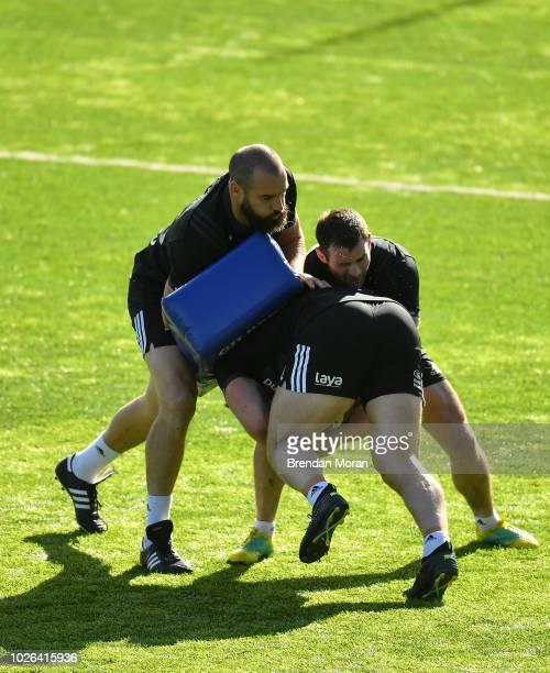 Dublin Ireland 3 September 2018 Scott Fardy left and Fergus McFadden during Leinster rugby squad training at Energia Park in Dublin